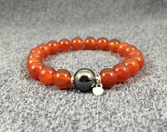 Carnelian with Hematite and Tiny Silver Heart Charm - 8mm Stretch Bracelet