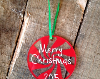 """Christmas Ornaments Personalized Christmas Ornaments 3"""" Round Acrylic Ornament Christmas Ornaments Monogrammed Christmas Ornament"""