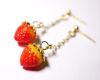 Strawberry Earrings - Handmade Food Jewelry