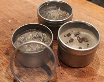 Recycled candle tin with natural lavender or vanilla