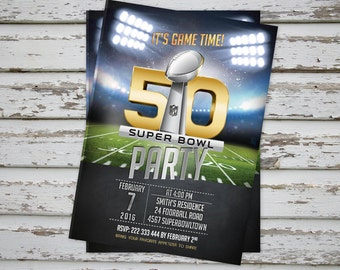 Super bowl 50 invitation Super bowl party superbowl 50 party invitation football invitation Printable