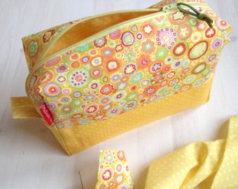 Fabric cosmetic bag/Yellow Makeup bag/Boxie Pouch/Toiletry Bag/Diaper Bag