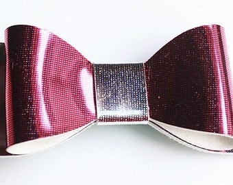 Baby/Toddler/Girl/Adult 2.75 Inch Hologram / Reflective Hair Bow on Lined Alligator Clip - Silver and Rose