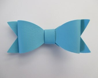 Baby/Toddler/Girl/Adult 3.25 Inch Faux Leather / Leatherette Hair Bow on Lined Alligator Clip -  Blue