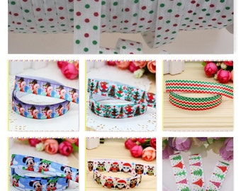 FOE - 5/8 Fold Over Elastic Print by the Metre for Headbands, Hair Ties, Sewing - Christmas Prints