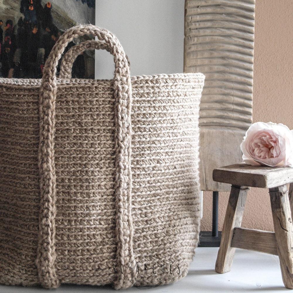 Handmade Jute Baskets : Handmade jute basket large crochet organizer bathroom by