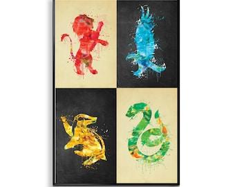 Harry Potter house print, Harry Potter wall art, gryffindor, slytherin, hufflepuff, ravenclaw house, Watercolor Harry Potter Art ET266
