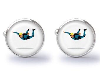 SkyDiver Cuff - Sky Diver Cufflinks - SkyDiving Cufflink - Sky Diving Parachute Cufflinks (Pair) Lifetime Guarantee (S0154)