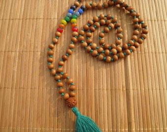 Mango wood and Chakra beads mala necklace