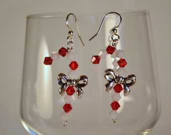 Swarovski Crystal Holiday Candy Cane Earrings