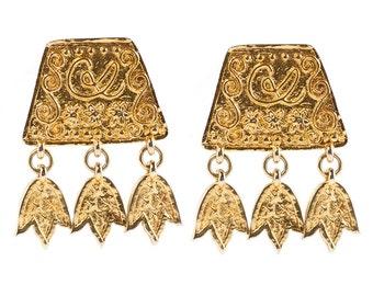 Christian Lacroix Signed Vintage Gold Tone Dangle Earrings c. 1980