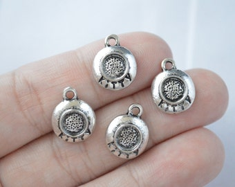 8 Pcs Kitty Bowl Charms Cat Charms Antique Silver Tone 14x11mm - YD0703