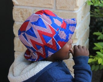 Red and blue Bucket hat, african print, bucket hat, toddler bucket hat, hat, cotton hat