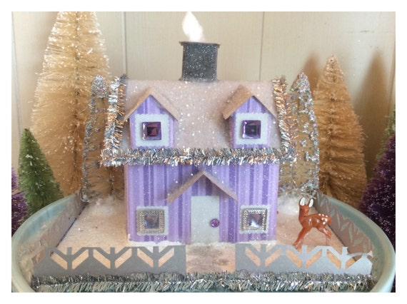 Purple Traditional winter putz style glitter house, paper house.