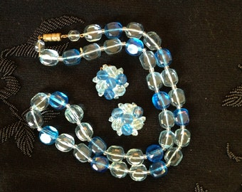 Vintage 1950's Blue Necklace and Earring Set