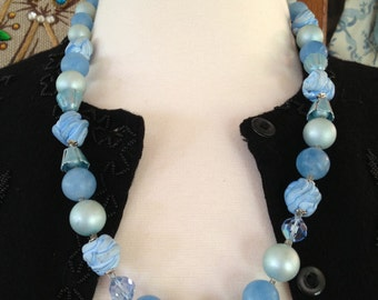 Vintage 1960's Blue Beaded Necklace * Single Strand * Tulip Spacers