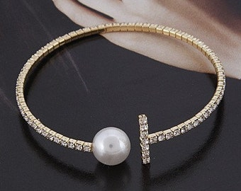 Rhinestone with Faux Pearl Thin Cuff Bracelet