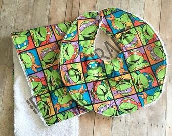 Turtle bib and burb cloth set
