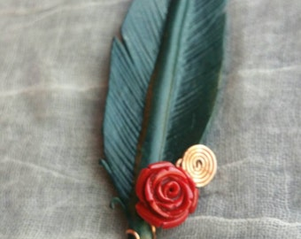 Blue Feather Adornment with Rose and Copper