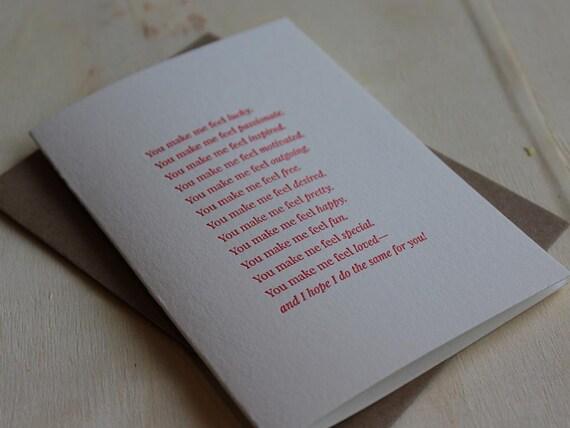 You make me feel...Letterpress Folded Greeting Card / Note Card / Loving Sentiment