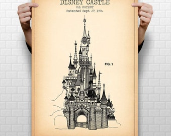 DISNEY CASTLE patent print, cinderella castle poster, disney castle blueprint, castle illustration, magic kingdom, disneyland, #1265