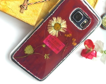 Samsung Galaxy S7 Case with art and pressed flowers