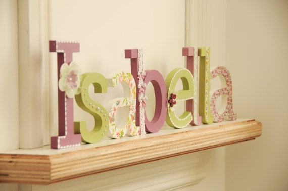 Free standing letter name hand painted and decorated wood for Standing wood letters to paint