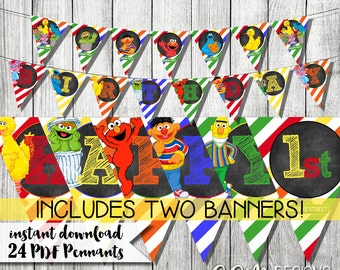 Sesame Street Banner, Sesame Street Birthday Banner, Sesame Street Printable Banner, Happy Birthday Banner, Sesame Street Party Decoration