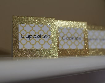 Custom Glitter Candy Buffet Tags, Candy Buffet Labels, Candy Buffet Jar Tags, Food Labels, Food Tags, Candy Tags