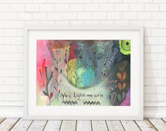 "Giclee Art Print - Giclee print - Print of the original painting ""You light me up""  - abstract - modern art"