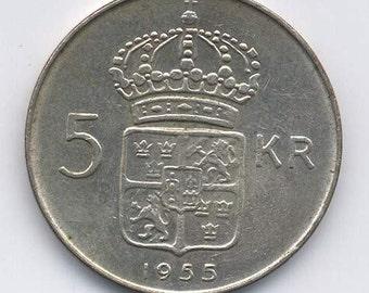 Gustav VI Swedish Silver 5 Kronor 1955 TS