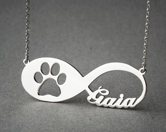 PERSONALISED INFINITY PAW Necklace - Paw Jewelry - Name Necklace - Custom Necklace - New Puppy - Dog Necklaces - Cat Necklace