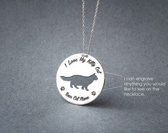 Personalised DISC LONGHAIRED CAT Necklace / Circle cat breed Necklace / Cat necklace/ Silver, Gold Plated or Rose Plated.