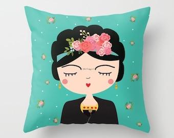 Frida Kahlo Pillow,  Nursery Modern Pillow, Boho Girls Pillow, Mexican Folk Art, Cushion Cover, Folk Decorative Throw Pillow, Feminist art