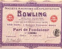 Antique share - Société Anonyme d'exploitation du Bowling - Part de fondateur - 1910