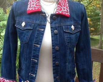 Red Bandana Denim Jacket, upcycled Girl's Size 10/12 Southwest style