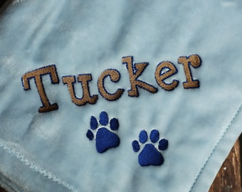 Embroidered Personalized Dog Blanket