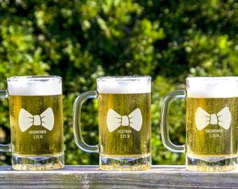 3 Custom Beer Glasses, Wedding Party Favors, Groomsmen Gifts, Will you be my Groomsman, Unique Groomsmen Gift, Beer Mugs, Custom Pilsner