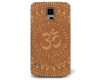 Laser Engraved Hand Drawn Native American Aztec Mandala Om symbol on Genuine Wood phone Case for Galaxy S5, S6 and S6Edge S-044