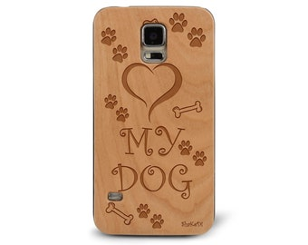 Laser Engraved I Love my Dog Paws and Treat Genuine Wood phone Case for Galaxy S5, S6 and S6Edge S-046