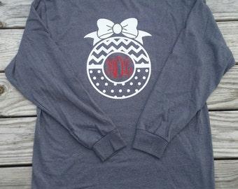 Christmas Monogram Shirt, Long Sleeve Monogram Shirt, Christmas Tree Shirt, Holiday Shirt, Monogram Gift, Personalized Gift
