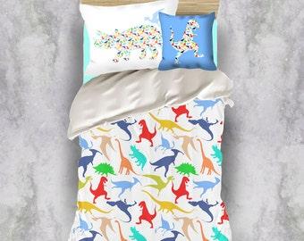 dinosaur duvet cover, dinosaur bedding, little boy duvet set, twin duvet cover, toddler boys duvet cover, kids duvet cover, boys bedding