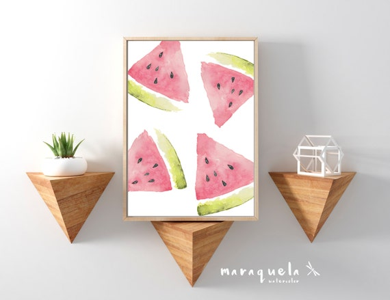 WATERMELON Slices Watercolor illustration, fruits decoration, art decor watermelons, sandia, summer fruits Wall Art Kitchen food fresh style