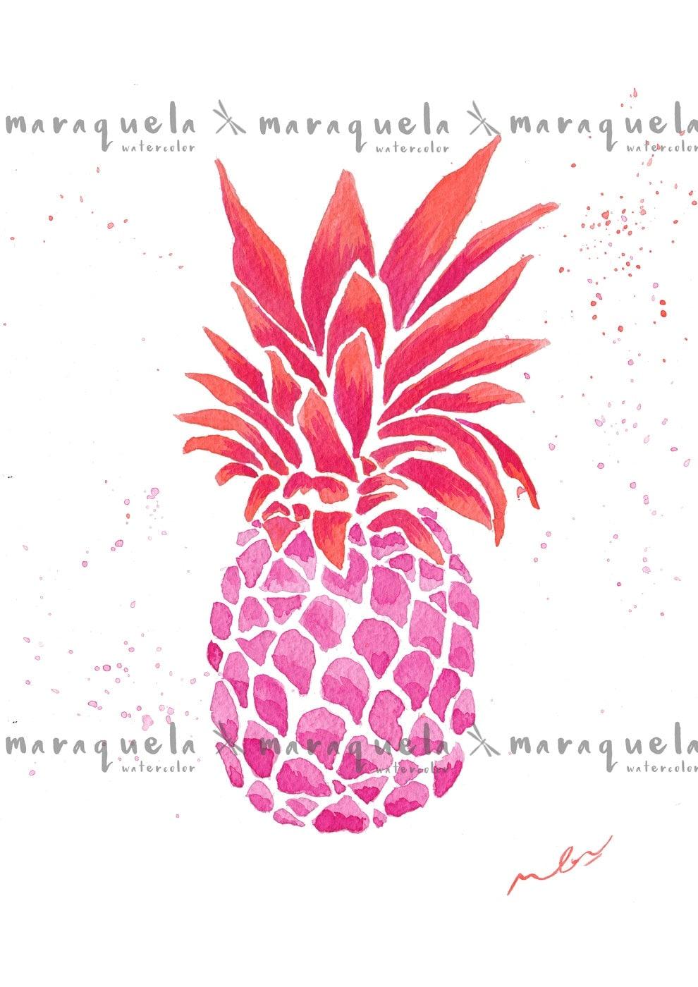 Pineapple bright vibrant colors watercolor artwork for Bright vibrant colors