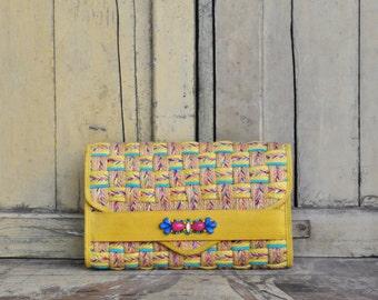 Bright Woven Clutch, Bohemian Handmade Clutch, Hand-embroidered Clutch, Womens Clutch