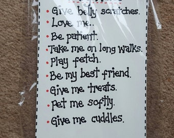 Dog Owner Lover Plaque Sign - Dog Rules belly Scratches Love me Patient Give me Cuddles - wooden sign plaque Dog gift