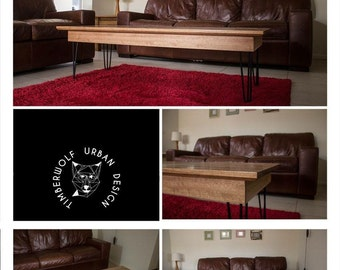 Mountain Ash Coffee Table with Hairpin Legs