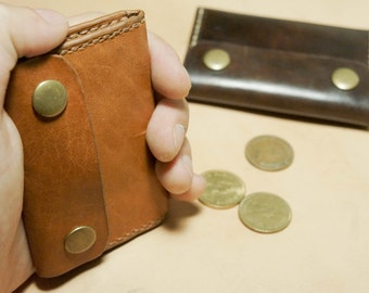 Little leather coins bag, tough and simple