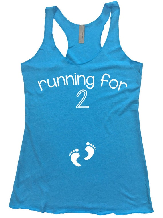 Running for 2 Tank Top Pregnancy Reveal Maternity / Pregnancy