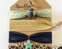 Ibiza-style bracelets/hair bows